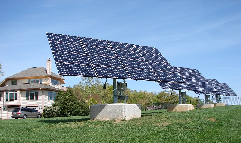 Dual axis solar tracker installation